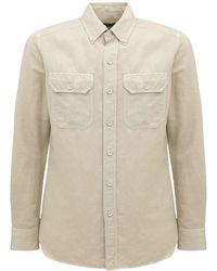 Tom Ford Рубашка Из Льна И Хлопка - Естественный