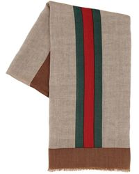 Gucci Wool, Linen & Silk Web Scarf - Natural