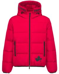 DSquared² Leaf Print Nylon Down Jacket - Red