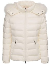 Moncler Куртка Из Лак.нейлона На Пуху С Меховой Оторочкой - Естественный
