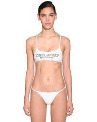 DSquared² Bedrucktes Bikini-oberteil Aus Lycra - Weiß