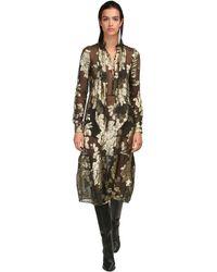Saint Laurent Платье Миди Из Жоржета - Металлик