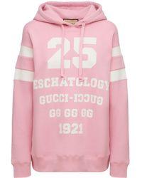 Gucci Свитшот Из Хлопкового Джерси С Принтом - Розовый