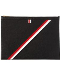 Thom Browne - Medium Stripes Pebbled Leather Zip Pouch - Lyst