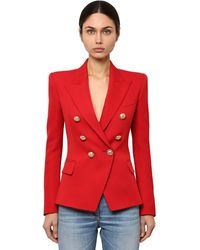 Balmain Double Breasted Wool Twill Blazer - Red