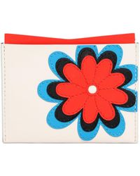 Roger Vivier Flower Embroidered Leather Card Holder - White