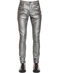 Balmain 15cm Laminated Slim Cotton Denim Jeans - Metallic