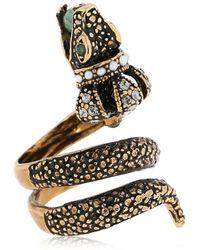 Alcozer & J Snake Crown Aventurine Ring - Metallic