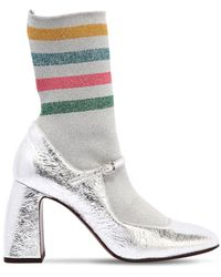 L'Autre Chose - 90mm Rainbow Sock Crackled Leather Boots - Lyst