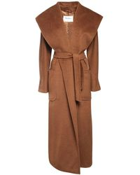 Max Mara Hooded Drap Camel Coat - Brown