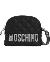 Moschino キルテッドナイロンショルダーバッグ - ブラック