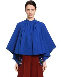Delpozo Cape Effect Cotton Poplin Blouse - Blue