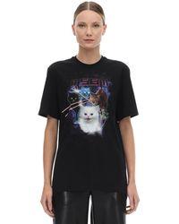 MSGM Space Cats Print Cotton Jersey T-shirt - Black