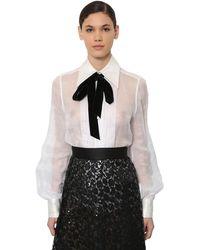Marc Jacobs Organza Blouse W/ Velvet Bow - White