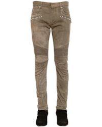 Balmain - 16cm Biker Washed Stretch Denim Jeans - Lyst