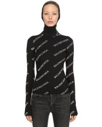 Balenciaga - Hooded Rib Knit Turtleneck Jumper - Lyst