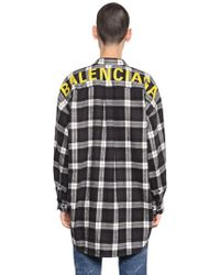 Balenciaga - Logo Printed Check Cotton Flannel Shirt - Lyst