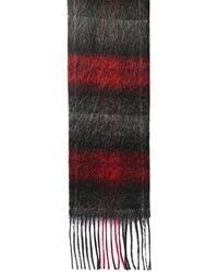 Saint Laurent Schal Aus Wolle Und Mohair Mit Logo - Rot