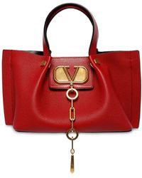 Valentino Kleine VLogo Shoppertasche aus rotem Kalbsleder