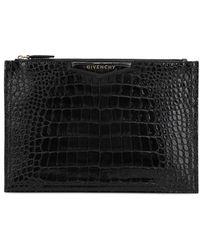Givenchy クロコダイル柄エンボスレザーポーチ - ブラック