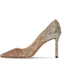 Jimmy Choo 85mm Romy Gradient Glittered Court Shoes - Metallic