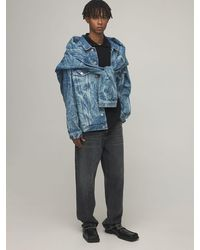 Martine Rose Stitched Double Cotton Denim Jacket - Blue