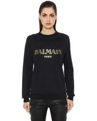 Balmain - Metallic Logo Cotton Sweatshirt - Lyst