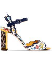 Dolce & Gabbana - 90mm Maiolica Patent Leather Sandals - Lyst