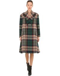Vivienne Westwood Cappotto In Lana Vergine Tartan - Verde