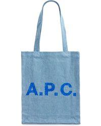 A.P.C. コットンデニムトートバッグ - ブルー