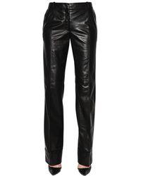 Ronald Van Der Kemp Straight Folded Leather Trousers - Black