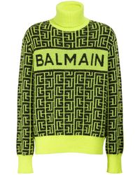 Balmain メリノウールブレンドニットセーター - グリーン
