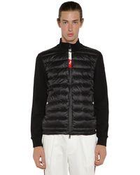 Moncler Sweater Aus Trikot Und Nylon Mit Daunenfüllung - Schwarz