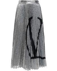 Valentino Go Logo Pleated Sequined Midi Skirt - Black