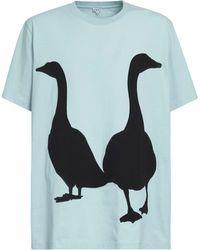 Loewe T-shirt En Jersey De Coton Imprimé Oie - Bleu