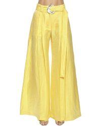 Taller Marmo High Waist Linen Blend Wide Leg Pants - Желтый
