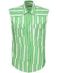 Phipps Striped Cotton Poplin Sleeveless Shirt - Зеленый