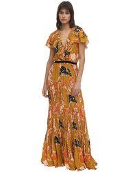 Johanna Ortiz Langes, Bedrucktes Kleid Aus Crepe De Chine - Mehrfarbig
