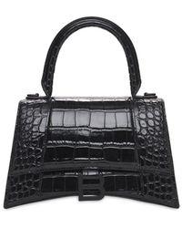 Balenciaga S Hourglass Croc Embossed Leather Bag - Black