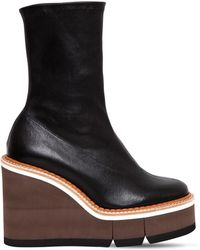 Robert Clergerie - 110mm Britt Stretch Leather Wedged Boots - Lyst
