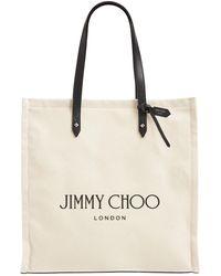 Jimmy Choo Borsa Shopping In Tela Con Pelle - Neutro