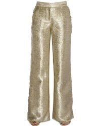 Gianluca Capannolo - Fringed Flared Lurex Tweed Pants - Lyst