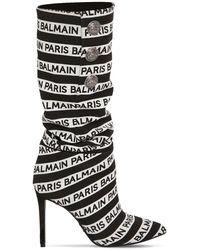 Balmain Bottes en maille imprimée - Noir