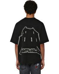 Marcelo Burlon T-shirt En Jersey De Coton Imprimé - Noir