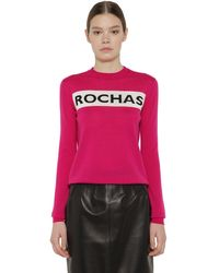 Rochas ウール インターシャロゴセーター - ピンク
