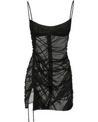 Mugler チュールシアーミニドレス - ブラック