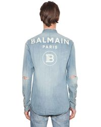 Balmain Bluse Aus Baumwolldenim Mit Druck - Blau