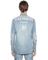 Balmain Рубашка Из Хлопкового Деним - Синий