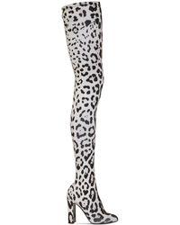 Dolce & Gabbana Сапоги Из Кожи Стретч С Леопардовым Принтом 105мм - Черный