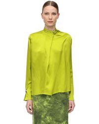 Marques'Almeida Рубашка Из Атласа - Зеленый